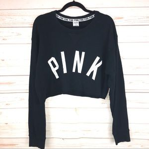 PINK Victoria's Secret Black Crop Top Shirt Sz L